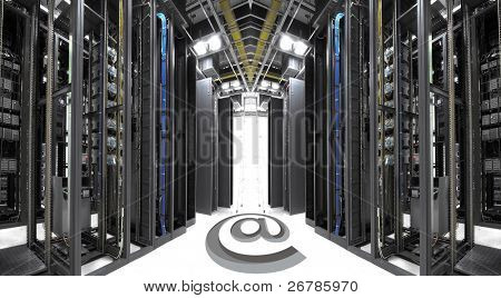 shot of network cables and servers in a technology data center(See more network cables and servers backgrounds in my portfolio).