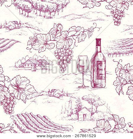 Seamless Pattern Made With Hand Drawn Grape Branches, Bottle And Glass On Rural Scene Background. Re
