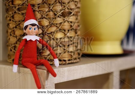 Funny Christmas Toy Elf On Shelf. American Christmas Traditions. Xmas Activities For Family With Kid