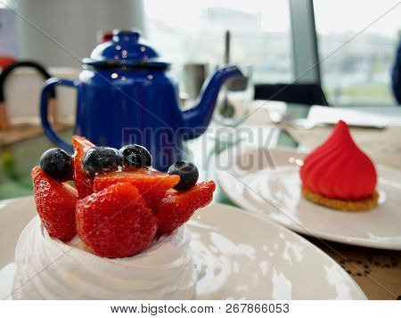 Russian Traditional Tea Dessert Berry Cake In Moscow