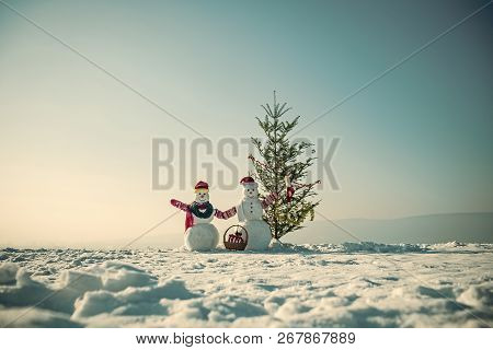New Year Snowman From Snow In Hat. Happy Holiday And Celebration. Christmas Tree And Boxing Day. Sno