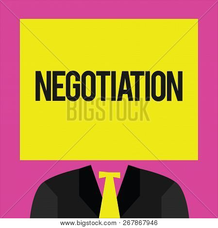 Conceptual Hand Writing Showing Negotiation. Business Photo Showcasing Discussion Aimed At Reaching