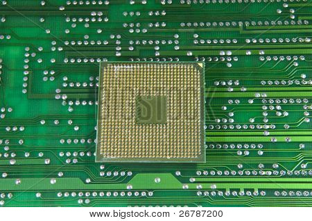 cpu for a computer on a circuit board background