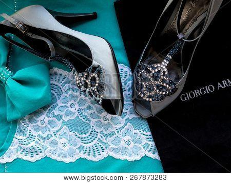 GOMEL, BELARUS - OCTOBER 21, 2018: Giorgio Armani women's shoes. Giorgio Armani S.p.A. is an Italian luxury fashion house founded by Giorgio Armani.