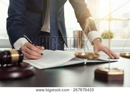 Lawyer Working With Documents. Justice Concept.