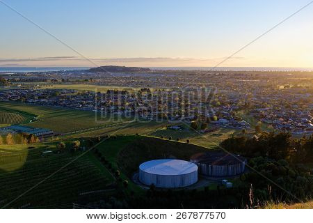 Sunrise Over The Town Of Napier, New Zealand