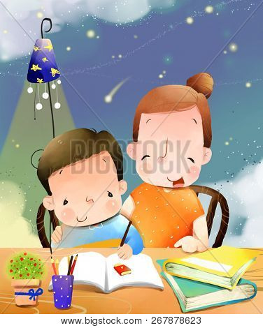 Mother helping child in writing