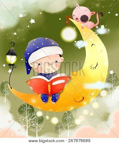 Boy reading Bedtime story