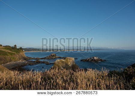 Oregon Coastline In Newport Oregon From Yaquina Head Outstanding Natural Area Along The Pacific Ocea