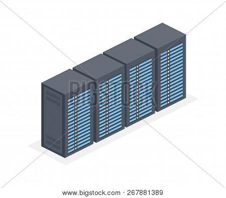 Data Centre With Server Racks Isometric 3d Icon. Internet Network Equipment, Cloud Database Sign. Ve
