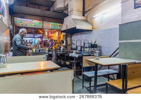 Delhi, India - October 22, 2016: Small Cheap Eatery In Paharganj District Of Delhi, India