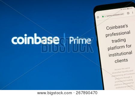 Kyrenia, Cyprus - November 8, 2018: Coinbase Prime Website Displayed On Smartphone Screen. Coinbase
