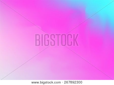 Hologram Fairy Tale Dreamy Vector Background. Gradient Design, Holographic Rainbow Girlie Iridescent
