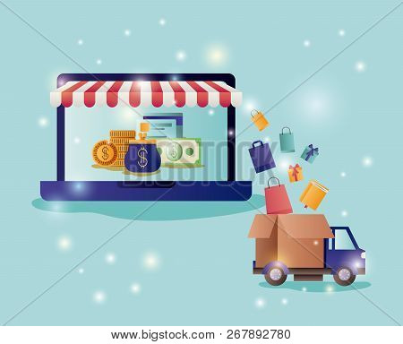 Laptop With Parasol And Ecommerce Icons Vector Illustration Design