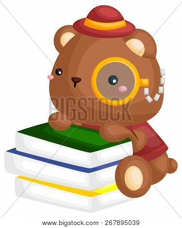 A Vector Of A Bear With A Stack Of Books