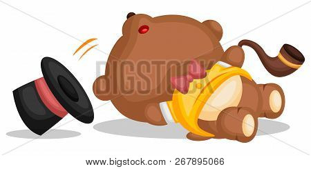 A Bear Wearing Fancy Shirt And Hat Is Slipping And Falling Down