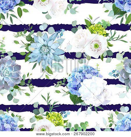 Blue And White Summer Flowers Seamless Vector Design Print. Hydrangea, Rose, Ranunculus, Eucalyptus,