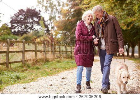 Active Senior Couple On Autumn Walk With Dog On Path Through Countryside