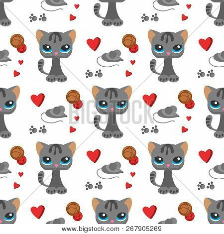 Cat And Mouse Cute Kitty Pet Cartoon Cute Animal Cattish Character Seamless Pattern Background Catli