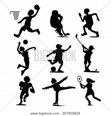 Health Sport Black Silhouette Wellness Flat People Characters Sporting Man Activity Woman Athletic V