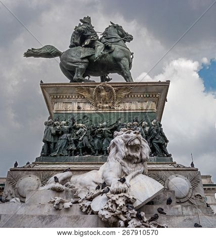 Milan, Italy - 09 May 2018: Monument In Honor Of Victor Emmanuel Ii. Located In The Piazza Del Duomo