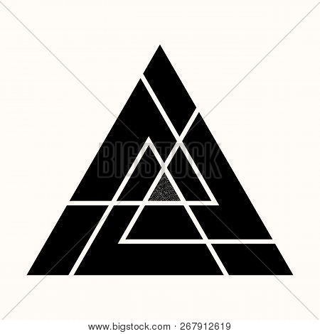 Sacred Geometry. The Crossed Linear Triangles. Secret Symbol Of Geometry. Sacred Triangular Symbol O