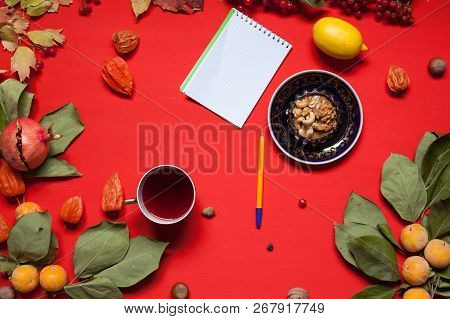 Autumn Background Breakfast Cake Yellow And Red Leaves Of Berries Fruits Nuts