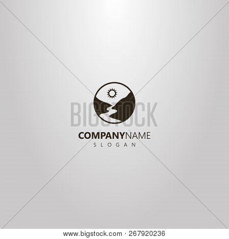 Black And White Simple Vector Round Logo Of A River Or Footpath Between Mountains