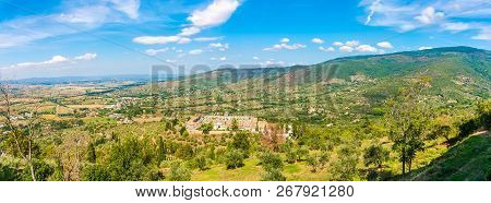 Panoramic View At The Tuscany Nature From Cortona Town - Italy
