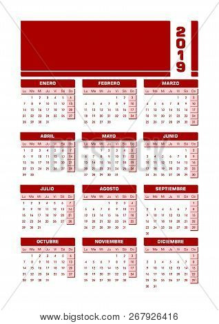 Red 2019 Spanish Calendar. Vector Illustration With Empty Space For Your Contents. All Elements Sort
