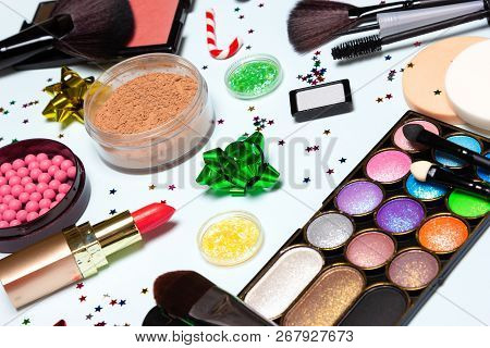 Christmas Party Glistening Makeup. Bright Sparkling New Year Make Up. Cosmetics And Accessories. Clo