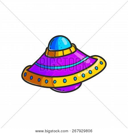 Cartoon Flying Saucers Hand Drawn Color Illustration. Cute Ufo. Space Shuttle Cliparts. Doodle Space