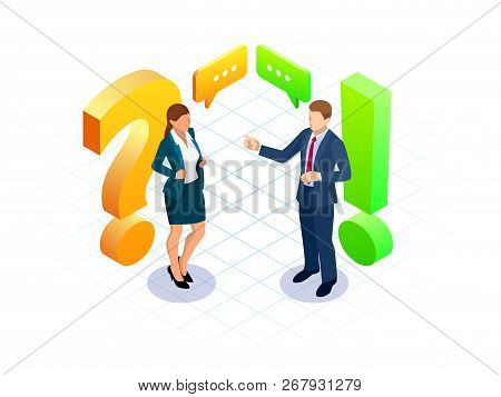 Isometric Question And Answer Concept. Discussion Man And Women Vector Illustration