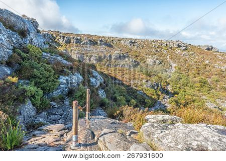 Cape Town, South Africa, August 17, 2018: The View On Top Of Table Mountain In Cape Town. The Chain