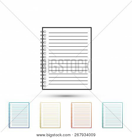 Notebook Icon Isolated On White Background. Spiral Notepad Icon. School Notebook. Writing Pad. Diary