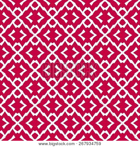 Vector Red And White Texture. Ethnic Tribal Ornament. Abstract Geometric Seamless Pattern With Rhomb