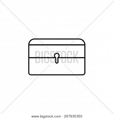 Black & White Vector Illustration Of Jewelry Holder. Jewellery Lockable Box. Line Icon Of Storage Or