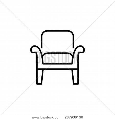 Black & White Vector Illustration Of Wooden Armchair With High Back. Line Icon Of Arm Chair Seat. Up