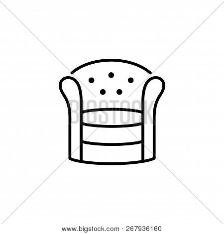Black & White Vector Illustration Of Round Armchair With High Back. Line Icon Of Arm Chair Seat. Uph