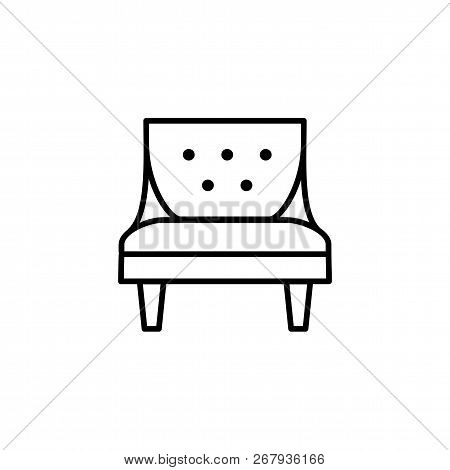Black & White Vector Illustration Of Comfortable Vintage Armchair With High Back. Line Icon Of Arm C