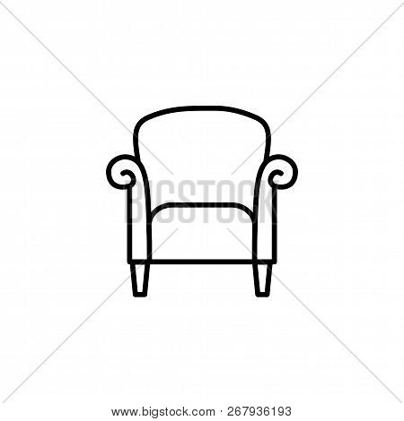Black & White Vector Illustration Of Retro Style Armchair With High Back. Line Icon Of Vintage Arm C