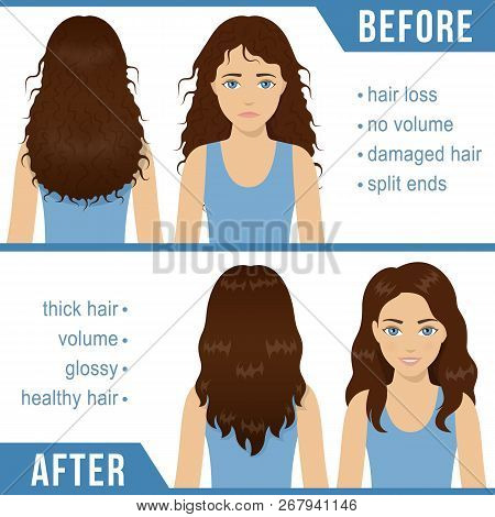 Care For Wavy Hair. Common Hair Problems - Split Ends, Damaged Hair, Hair Loss. Before And After Hai