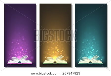 Open Books With Different Colors Magic Lights. Perfect Banners For Fantasy, Fairy-tale, Miracle, Lit