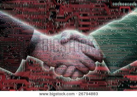 Digitally Generated Image of two men handshake on circuitboard background