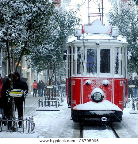 close up shot of tramway covered with snow in istanbul
