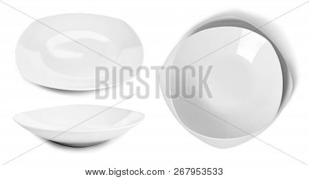 White Plates Or Dish Ware, Modern Porcelain Plates. Isolated Objects On White Background. Elegant Pl