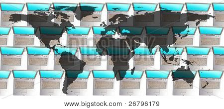 an image of flat world map on several laptops background
