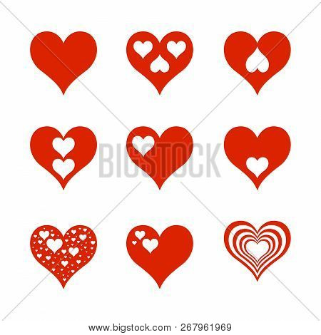 Love Heart Icons Set, Heart Icons Collection, Heart Simple Design Vector Eps10,