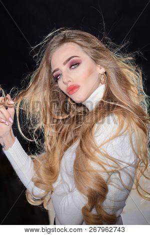 Gorgeous Curly Hair. Beautiful Woman With Long Blonde Hair. Sexy Sensual Beautiful Girl. Romantic Wo