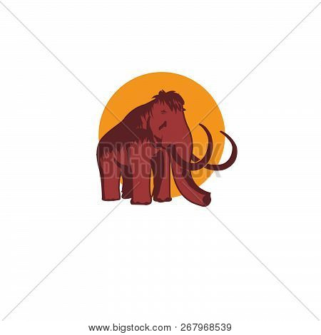 Mammoth Icon In Cartoon Design Isolated On White Background. Dinosaurs And Prehistoric Symbol Stock